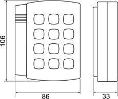 Чертеж считывателя с кнопочной панелью Matrix IV EH Keys, Matrix IV Keys